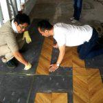 1階礼拝堂の床をヘリンボーン柄に!新会堂DIY記17